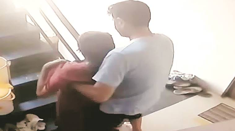 CCTV footage shows Sandeep Nathwani with his mother
