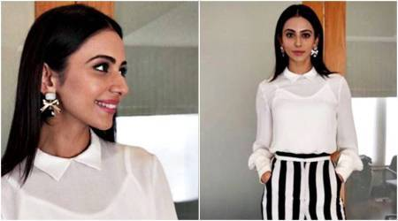 Rakul Preet Singh's outfit is proof that stripes will still be a huge fashion trend in 2018