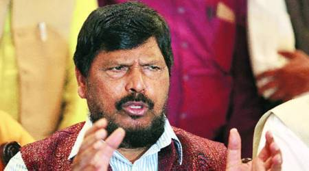 Union minister Ramdas Athawale heckled by protesters duringspeech