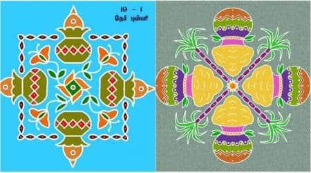 pongal, pongal kolam designs, pongal images, pongal kolam images, pongal rangoli designs, pongal colourful rangoli, pongal flower rangoli, pongal celbrations, indian express, indian express news