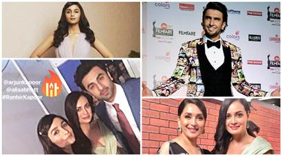ranveer singh alia bhatt Filmfare Awards 2018 red carpet photos