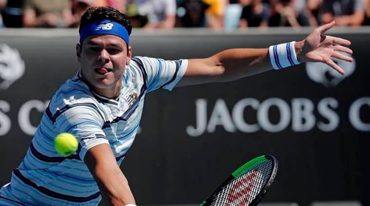 Milos Raonic in action against Lukas Lacko at Australian Open