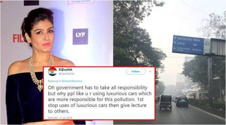 Raveena Tandon tweet, Raveena Tandon trolls, Raveena Tandon social media, Raveena Tandon, Raveena Tandon movies, mumbia smog, mumbai pollution, delhi smog, indian express, indian express, news, viral photo