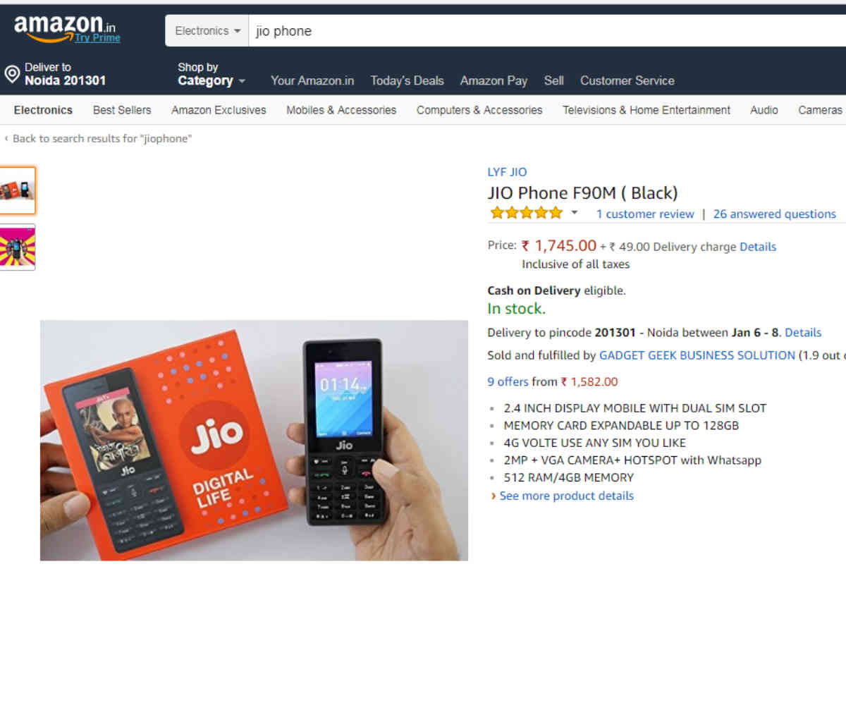 Reliance JioPhone listed on Amazon: Better to stick with offline for