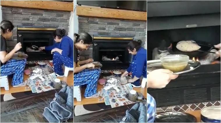 punjabi, punjabi aboard, cooking in fireplace, roti making in fireplace, funny videos, odd videos, indian express, viral videos,