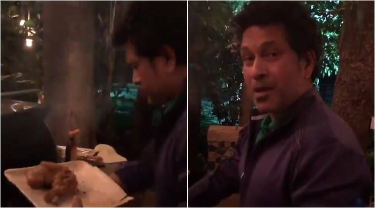 sachin tendulkar, sachin tendulkar making chicken, sachin tendulkar twitter, sachin tendulkar videos, sachin tendulkar new year party, sachin tendulkar new year photos, sachin tendulkar new year videos, sachin tendulkar bbq chicken, indian express, indian express news