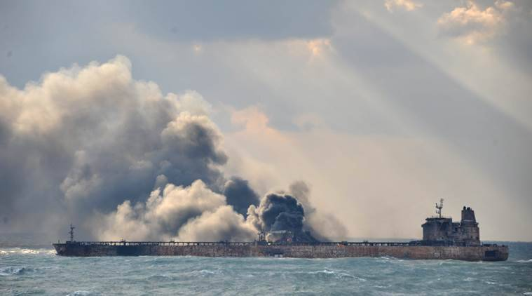 iran oil tanker, east china sea, sanchi oil tanker, oil tank explosion in sea, oil tanker collision, world news, oil ship fire ocean, indian express