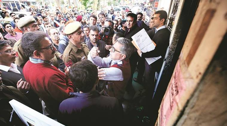 DDA officials faced protests from traders during the sealing drive in Defence Colony. (Express File Photo/Praveen Khanna)