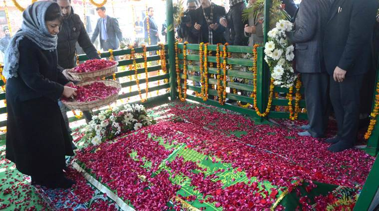 Mufti Mohammad Sayeed, Mufti Mohammad Sayeed death anniversary, Mehbooba Mufti, J-K Governor N N Vohra J-K Deputy CM Nirmal Singh, Jammu and Kashmir, Indian express news