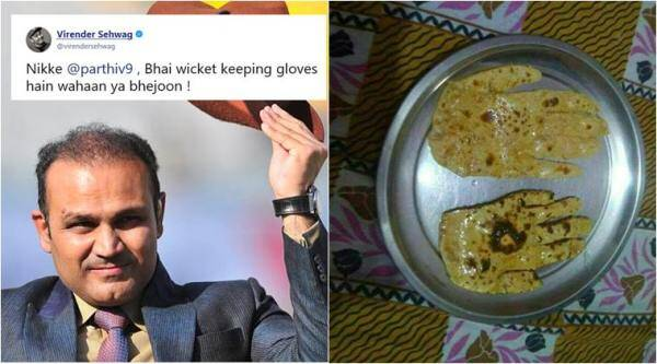 virender sehwag, sehwag funny tweets, sehwag roti joke, roti in shape of hands, parthiv patel, funny news, odd news, cricket news, viral news, indian express