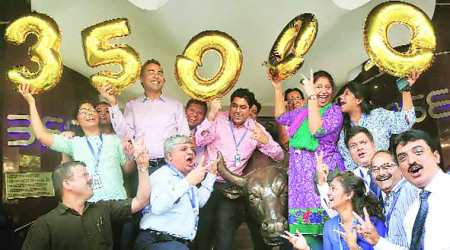 Sensex hits 35,000 mark: Over 1,000 points jump in 17 sessions