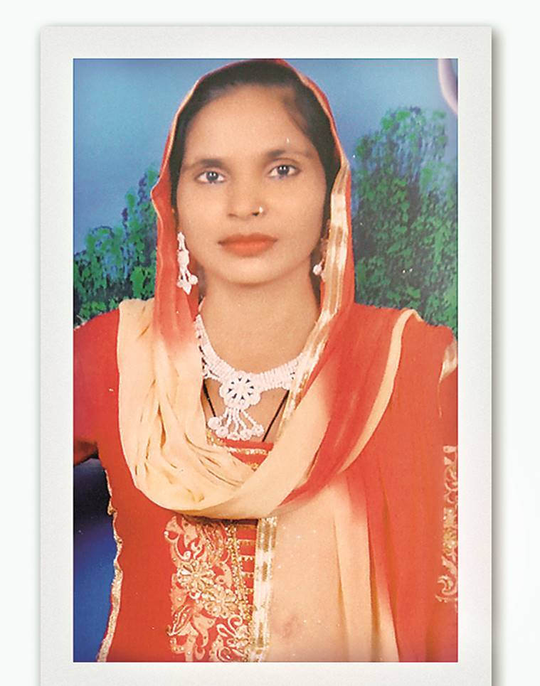 "In Noorpur village, where Shabana's home (above) stands locked, her sister says ""she got involved in wrong things""; (below) a picture of Shabana seized from her home. Gajendra Yadav"