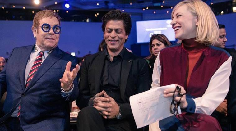 shah rukh khan at world economic forum with elton john and cate blanchett