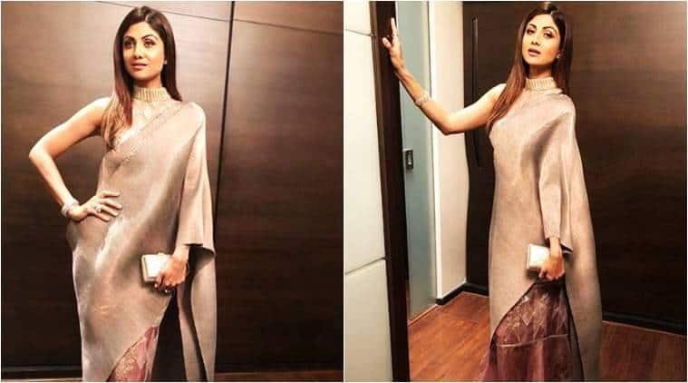 Shilpa Shetty, Shilpa Shetty latest photos, Shilpa Shetty fashion, Shilpa Shetty saris, Shilpa Shetty metallic sari, Shilpa Shetty Kiran Uttam Ghosh