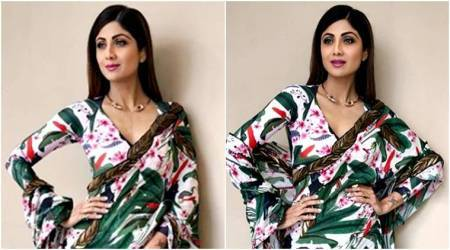 Shilpa Shetty's foliage-print Shivan and Narresh sari is way more than what we can handle
