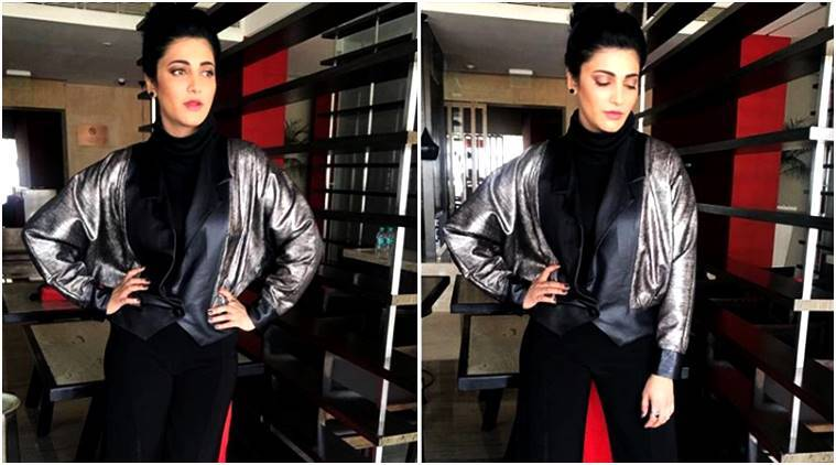 Shruti Haasan, Shruti Haasan metallics, Shruti Haasan metallic bomber jacket, Bhaavya Bhatnagar, Shruti Haasan Bhaavya Bhatnagar, Shruti Haasan fashion, Shruti Haasan style, Shruti Haasan updates, Shruti Haasan latest news, Shruti Haasan latest photos, Shruti Haasan pictures, Shruti Haasan images, celeb fashion, bollywood fashion, indian express, indian express news