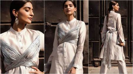PadMan promotions: Sonam Kapoor looks like a warrior princess in this zari cord tie-up kurta set