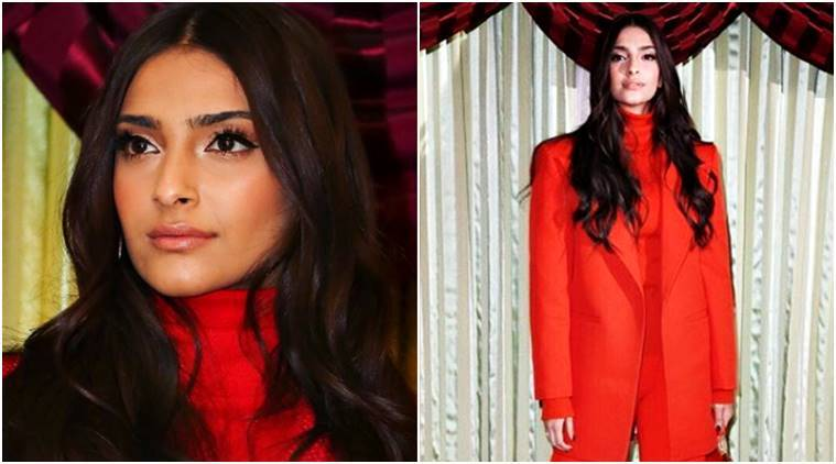 PadMan promotions: Sonam Kapoor looks like a '70s poster girl in this blazing redpantsuit