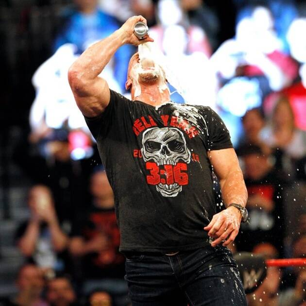 Stone Cold guzzles some beers