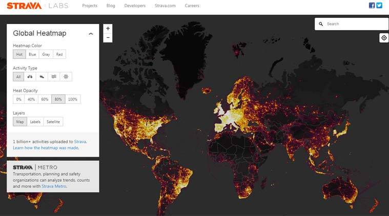 Strava heat map feature, fitness tracking app, map-based data, war zones, global heat maps, sensitive information, Silicon Valley companies, street-level details, data sets, hacking attempts