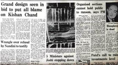 forty years ago, Express front page, L-G Navin Chawla, Shah Commission, Indira Gandhi, Sanjay Gandhi, Emergency, Editorial News, Indian Express, Indian Express News