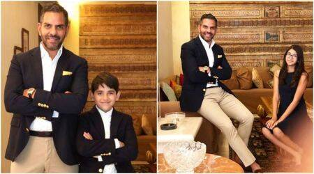 Karisma Kapoor's children Samaira and Kiaan strike the perfect pose with father Sunjay Kapur