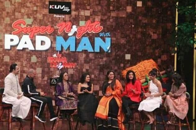 manushi chillar, ila arun, neha kakkar on super night with padman and akshay kumar