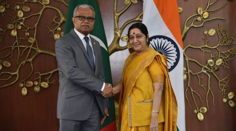 Sushma meets Maldives minister amid strained ties
