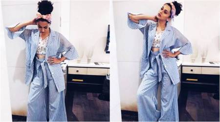 No, they're not pyjamas, but a pinstriped pantsuit that Taapsee Pannu's wearing