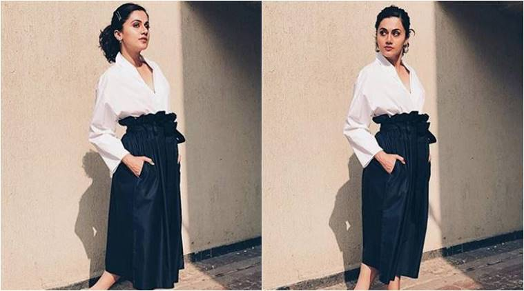 Taapsee Pannu, Taapsee Pannu latest photos, Taapsee Pannu fashion, Taapsee Pannu paper bag waist skirt, Taapsee Pannu contemporary outfits, indian express, indian express news