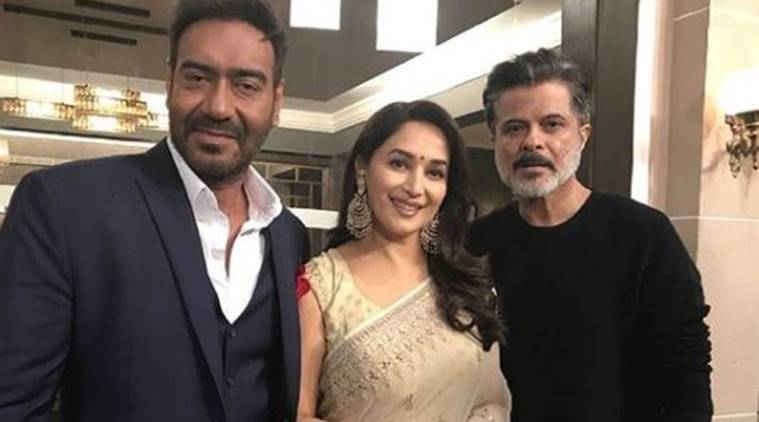 madhuri dixit and anil kapoor at total dhamaal mahurat shot