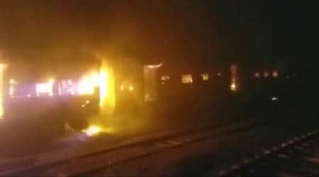 train, train fire, rajdhani express, rajdhani express fire, bhubaneswar, bhubaneswar train fire, indian express