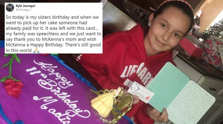 stranger pays for girl's birthday cake, mother's tribute to late daughter, mother's tribute to daughter stranger's birthday cake surprise, good news, viral good news, viral good news trending, indian express, indian express news
