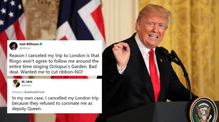 Donald Trump, Trump london trip, trump cancel london visit, US new london embassy, barack obama, US London embassy, trump trolled, indian express, world news,