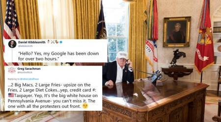 Photos of Donald Trump 'working during govt shutdown' get Twitterati meme-ing away