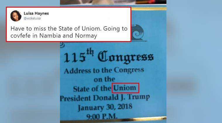 Donald Trump, US President Donald Trump, Typo Trump ticket, State of the Uniom, State of Union Typo, World News, Latest World News, Indian Express, Indian Express News