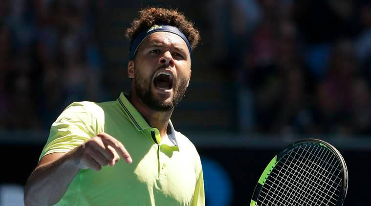Jo Wilfried Tsonga against Denis Shapovalov at the Australian Open