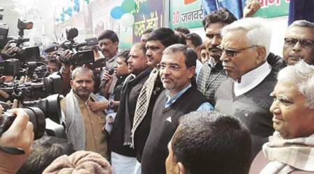 BJP, JD(U) skip ally Upendra Kushwaha's human queue, RJD leaders attend