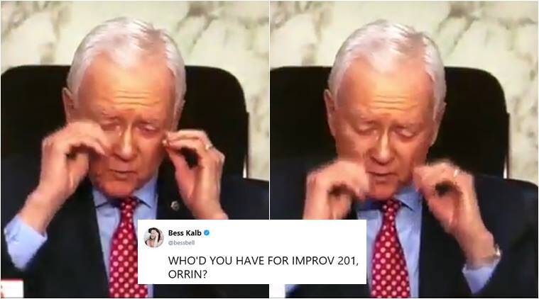 Orrin Hatch, senator removes invisible glasses, Orrin Hatch removes glasses, us senator remove invisible glass, orrin hatch galsses video, world news, indian express