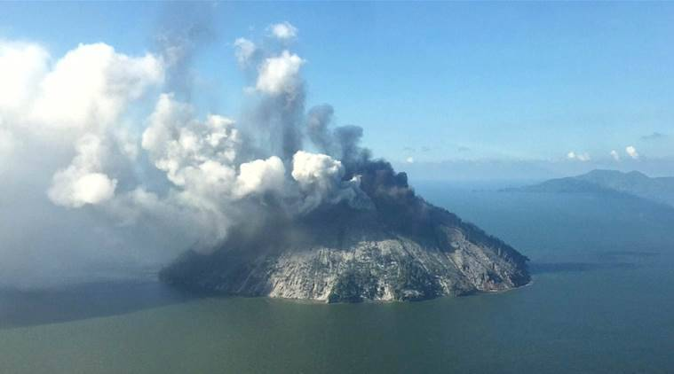 volcano, papua new guinea, ring of fire, south pacific, kadovar island, eruption, ash clouds, indian express