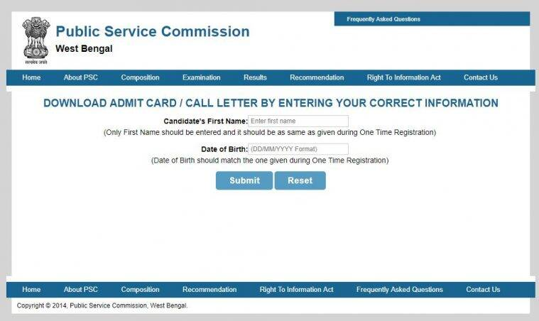 wbcs preliminary 2016 admit card