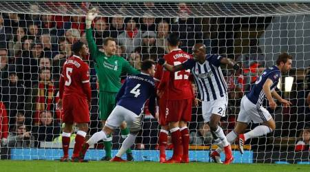 West Brom players celebrate a goal which was later confirmed by VAR