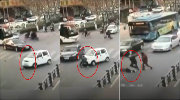 accident videos, woman hit by a car, woman survives after being hit by a car, miraculous rescue of women, indian express, indian express news