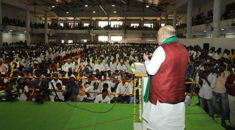Amit Shah, Amit Shah in Karnataka, Karnataka elections, Yedurappa, Rahul Gandhi, Karnataka Rally, BJP chief Amit Shah Karnataka Rally, Rahul Gandhi, Modi govt, Modi govt industries' loans, India News, Indian Express