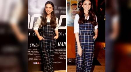 Aditi Rao Hydari's checked dungarees are too cool for school, but great as spring street style