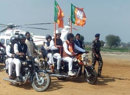amist shah, bjp chief amit shah, amit shah jind rally, jind bike rally, yuva hunkar rally, haryana government, manohar lal khattar