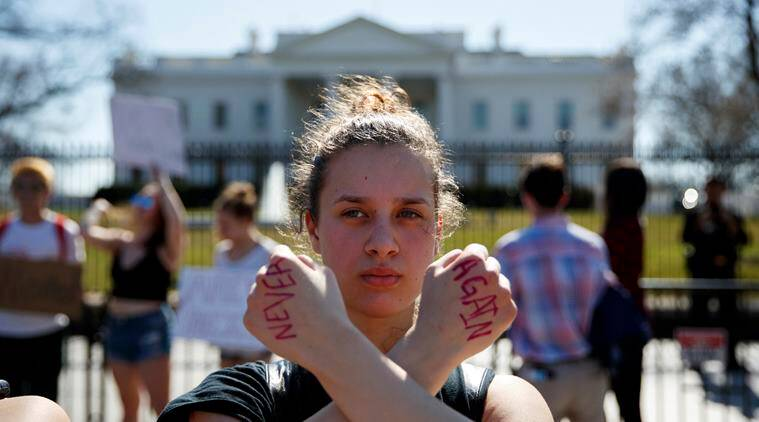 student protester in front of white house