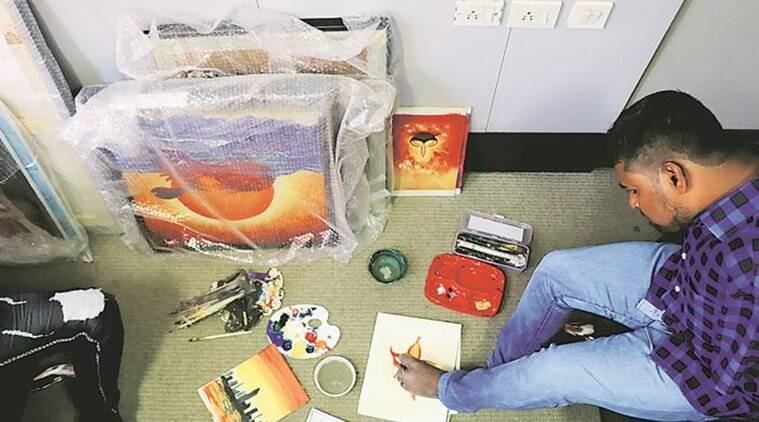 Artists With No Hands Make A Living From Their Paintings Cities News The Indian Express