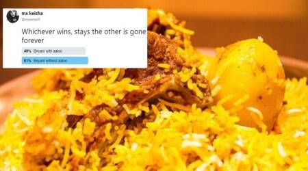 biryani with aaloo, biryani without aaloo, biryani twitter, tweet poll Pakistan biryani viral, Pakistan polls, Pakistan polls on aaloo biryani viral, Indian Express, Indian Express news