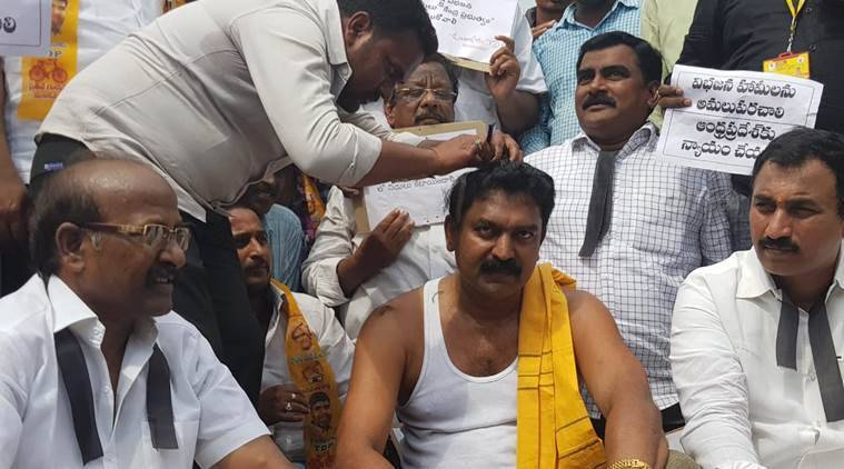 TDP MLA Bode Prasad shaves his head against 'injustice' to Andhra Pradesh